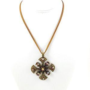 NWOT! Lia Sophia Pendant Necklace Leather Cord